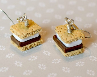 Polymer Clay S'more Earrings, Food Jewelry, Miniature Food