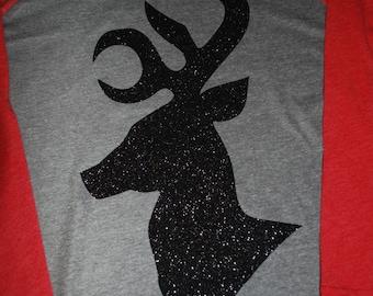 Glitter Reindeer Baseball T
