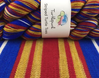 Wonder Woman - Ready to Ship by June 1st - Hand-Dyed Self-Striping Sock Yarn