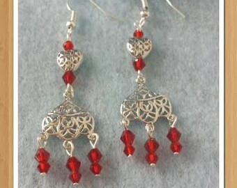 Red  chandelier platinum earrings Free shipping!