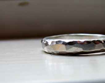 Unisex Plus Size Wedding Band of Hammered Sterling Silver