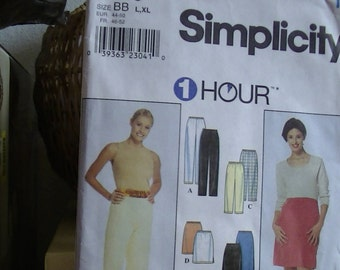 Simplicity Pattern 8740 Size BB (L,XL) 1 HOUR, Misses' Pants, Shorts, and Skirt.