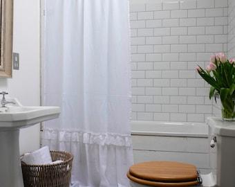 Linen Shower Curtain Shabby Chic Bathroom Ruffled Decor