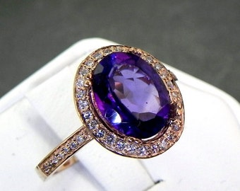 AAA Amethyst   10x8mm 2.08 Carats   in a 14k ROSE gold ring with diamonds (.32ct) Ring 1140