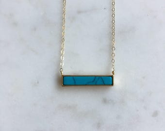 Turquoise Bar Pendant on Delicate 14kg filled Chain