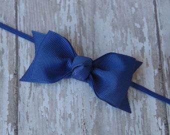 Boutique Royal Blue Tuxedo Bow Skinny Elastic Headband Infant/Toddler Hair Bow Bowband