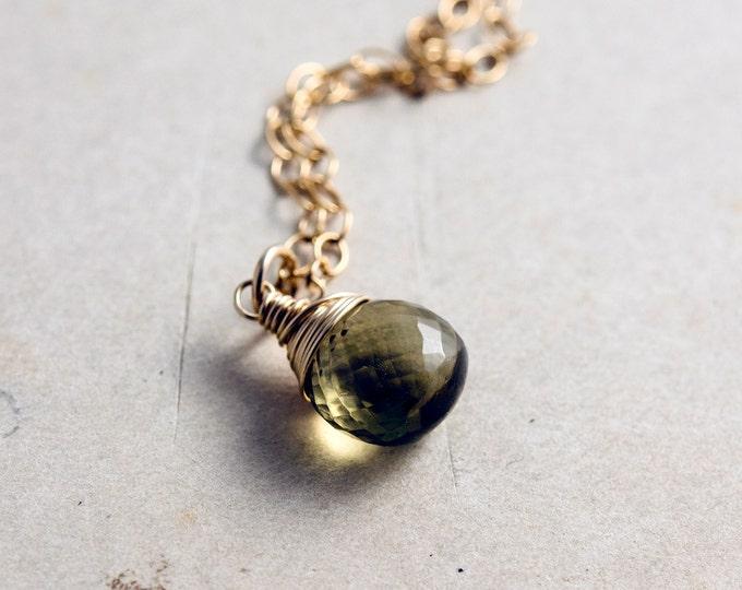Olive Quartz Necklace, Green Quartz, Olive Green, Gold Necklace, Gemstone Pendant, Army Green, Dark Green, 14K gold filled, PoleStar
