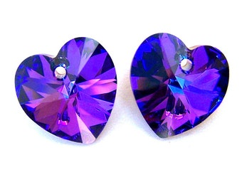2 Heliotrope 14mm Swarovski crystal heart pendants
