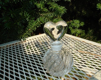vintage perfume bottle  crystal heart