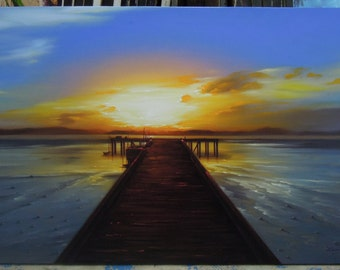 """Sunset painting oil painting on canvas 28""""X48"""""""