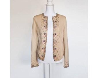 Beige Cardigan Sweater, Beaded Sweater, 90s Vintage Sweater, Open Front Sweater, Wool Sweater, Vintage Knitwear, Beaded Cardigan