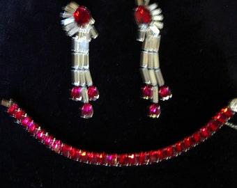 Reduced 1950s Vintage Ruby/ Baguette Rhinestone Drop Ears/  Ruby Stone Tennis Bracelet Item # 809  Jewelry