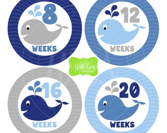 Whale Pregnancy Stickers - Whale Stickers - Pregnancy Growth Stickers - Baby Bump Stickers - Blue and Grey Baby Stickers