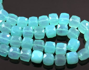 Aqua Blue Chalcedony, Medium Faceted Cubes, AAA Quality Gemstones 7mm, 1 Strand (AQCHLC/7CUBE),
