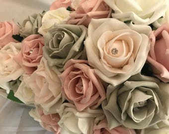 Blush, grey and ivory foam flowers