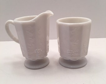 Westmoreland Milk Glass Sugar Bowl and Creamer~ Grapes and Leaves pattern ~ Virginia Vintage