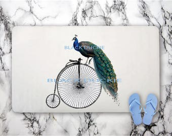 Peacock Bath Mat - Vintage Bicycle Bath Mat - Bird Rugs - Bike Rugs - Peacock Bathroom Decor - Vintage Penny Farthing Bath Mat