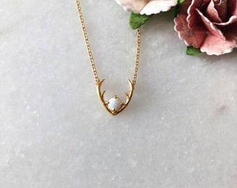 Gold Antler With Opal Dainty Necklace