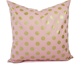 Two Metallic Gold Pillow Covers - Pink and Gold Pillow Cover - Decorative Pillow - Polka Dot Pillows - Nursery Pillow - 16x16 18x18 20x20