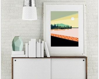 "Modern Wall Art, Mid Century Modern Art Print, Abstract Landscape Print, Mountain Art, River Art, Vintage Art Print, Rockies,""Copper Bridge"""