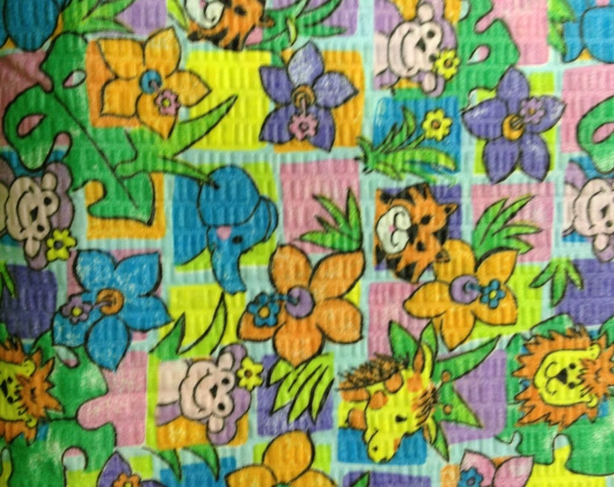Jungle Playmates, waffle 100% cotton fabric- sold ( multiple lengths)  #331