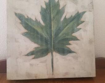 Distressed Handpainted Leaf Painting