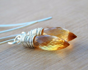 Citrine Earrings, faceted dew drop lemon yellow, citrine jewelry, November Birthstone, Wire wrapped briolette gemstone ox