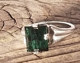 9x8mm GREEN TOURMALINE in sterling SILVER ring