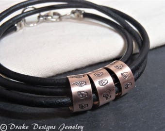 ASL sign language triple wrapped leather bracelet personalized with custom name