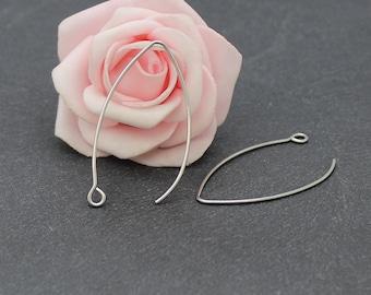 10 large hooks 42 x 23 mm stainless steel earrings