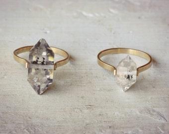Herkimer Diamond Ring, Gold Herkimer Quartz Ring, Boho Crystal Wedding Ring, Alternative Wedding Band | Gold Fill Herkimer Ring