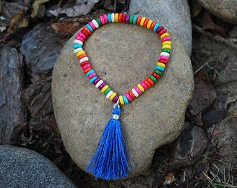 Tassel Bracelet, Stretch Tassel Bracelet, Multi Color Heshie Bead Bracelet, Tassel Bracelets, Boho Bracelets, Stretch Bracelet,