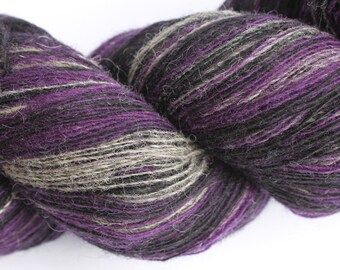 KAUNI Estonian Artistic Wool Yarn Black Lila  8/1,  Laceweight Art Wool Yarn for Knitting, Crochet