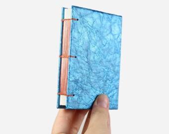 Small Sketchbook· Art Journal· Blank Notebook· Watercolor Sketchbook· Blue· Pocket Journal· Mini Notebook· Faux Leather· Handmade Book· A7