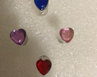 12 Heart Rhinestone Heart Pushpins