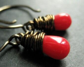 BRONZE Earrings - Red Coral Earrings. Teardrop Earrings. Wire Wrapped Earrings. Handmade Jewelry.