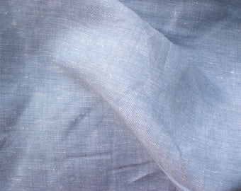"56"" Wide Sky Blue Cotton Linen Chambray Fabric With Silver Lurex Sold by Yard"