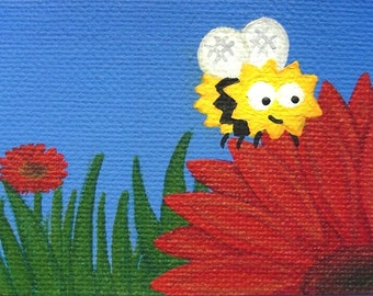 Cute Little Bee original ACEO - small acrylic art of a black and yellow cartoon bumblebee on a red gerbera flower, mini garden artwork