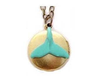 """Whale Tail Locket 20"""" Antiqued Brass Chain"""