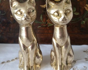 Two Brass Siamese Cats.  Perfect Gift For a Cat Lover.  4 3/4 Inches High