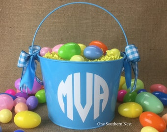 Personalized blue Easter basket, Easter bucket, Easter pail with Monogram.  Most vinyl colors available.
