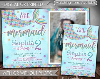 Mermaid Birthday Invitation, Mermaid Invitation, Mermaid Birthday Party Invitation, Mermaid Invite, Teal Purple Gold, Girl Mermaid Tail #597