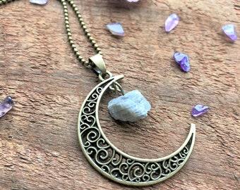 Labradorite Crescent Moon Natural Quartz Necklace Bronze Bohemian Quartz Crystal Point Charms Pendant Healing Crystal New Age Metaphysical