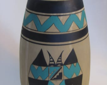 Native American Acoma Large Hand Painted Pottery Vase