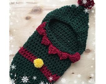 Newborn, Santa's Helper, Swaddle, Cocoon, Hooded, Holiday, Photo Prop,