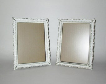 Vintage 1950s 1960s Picture Frames / 50s 60s White And Gold Picture Frames Wall Hangings