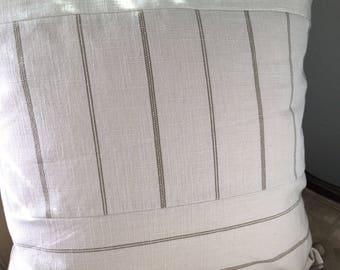 Tan Cream Pillow Cover 18 20 22 24 inch Pillow Cover Neutral Pillow Cover Neutral Home Decor Tan Stripe Pillow Cover Blue Tan Stripe Pillow