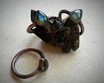 Teardrop Labradorite Stacker Rings - Size 7, Copper