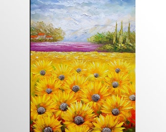 Oil Painting, Landscape Painting, Sunflower Field Painting, Large Art, Wall Art, Canvas Art, Abstract Art, Original Painting, Large Wall Art
