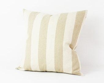 FREE SHIPPING! Light Khaki Stripe Decorative Throw Pillow Cover Case Hemp Pillow Cover Cushion Cover Hidden Zipper Closure  Handmade 1553